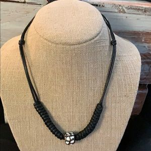 Black corded necklace with center bead